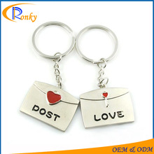 Cheap valentines gift post envelope keyring for lovers couple