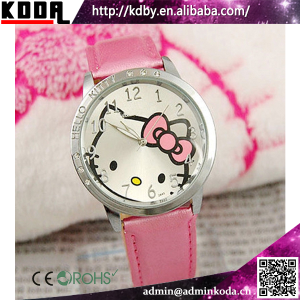 Hello Kitty Wholesale Gemstone Genuine Leather Watch