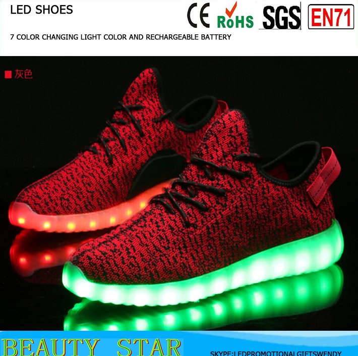 Hot selling unsix led sport shoes,wholesale led sport shoes,7 color changing light led sport shoes in China manufacturer