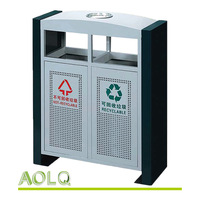 Industrial metal garbage bins, sorting waste container type, durable outdoor trash bin