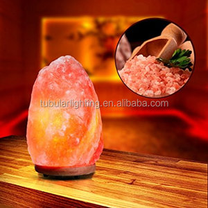 E12 C7 bulb Salt Lamp wire cord Hand Crafted Natural Himalayan Salt Lamp On Wooden Base