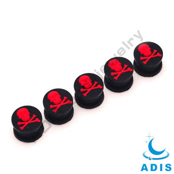 nice silicon plug 5 pcs 00gauge skull image on it ear plug
