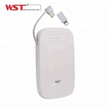 Newest design built-in cable msds / rohs mobile phone power bank 5000 mah