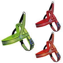 Reflective nylon harness dog with 2mm Reflective Stitching for Night Time Safety Red M