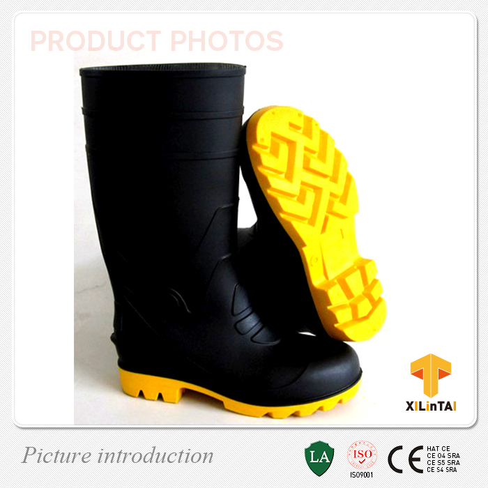 Black Industrial PVC Safety Work Boots