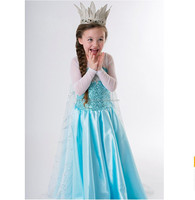 2016 wholesale spring girls dresses birthday party princess elsa dress in frozen