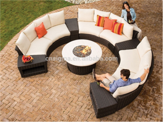 Trade Assurance factory direct sale made of artificial luxury round rattan outdoor garden sectional sofa set