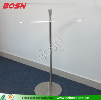 Flat Packing Transparent Acrylic podium with Metal Stand