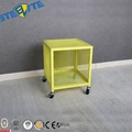 Organization Square Cube Cabinet Metal Wire Mesh Storage Bedside Cabinet With Wheels Design