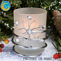 Rhinestone Frosted Glass with Glitter Snowflakes / Free Flameless Candle / Frosted Votive Candle Holders Christmas Decoration