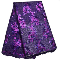 New Flower Dry lace Embroidery Organza Lace Sequins Purple Africa Lace For Wedding