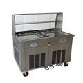 Fried ice cream machine double pan with 11 bowls and glass shelf fried ice cream roll machine
