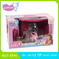2016 new item 4 inch lovely doll with Plastic stable and kid horse toys MZT8946