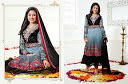 black with grey color Pure Georgette with Heavy Emb.