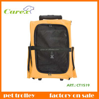 Yellow Convenient Fold And pet carrier bag,Cat and Dog Trolley Cage