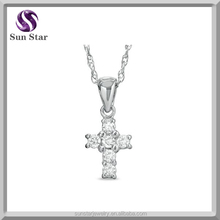 pretty Mini Cross Pendant in 14K White Gold
