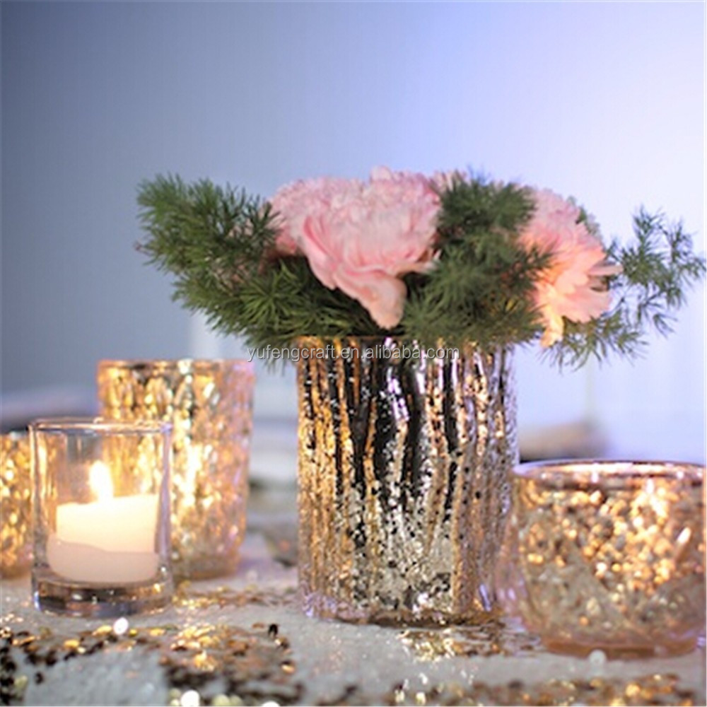 Mercury Glass vase /Glass Candle Holder / Glass Tealight Wedding Decoration