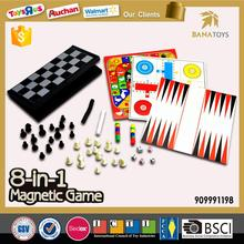 Plastic 8 in 1 magnetic chess set funny games