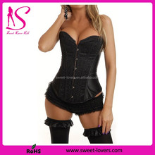 Top Selling Satin Lace Shinny black Satin corset dress party corset sexy lingerie corset tight