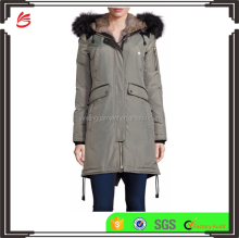 2017 Winter Newly Design Women Parka Jacket Fur Hooded Down Jacket with Rib-knit Trims