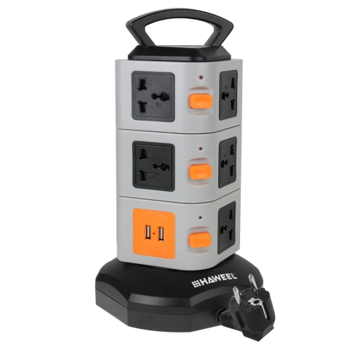 In Stock HAWEEL 3 Layers with 11 EU Outlet and 2 Ports 2.1A USB Smart Power Socket, Overload Protector, EU Plug (Black + Grey)