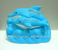 lovely dolphin shaped money box,custom plastic saving moeny box
