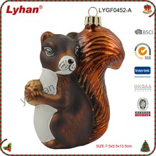 new glass brown squirrel foraging for Christmas tree decoration