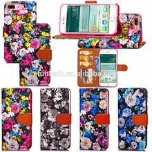 Customized design beautiful flower PU leather flip phone case for iphone 7 plus