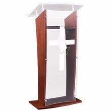 Mahogany Wood Praying Hands Cross Acrylic Front Panel Cheap Church Podium
