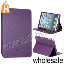 Kajsa Carbon Fiber Pattern Smart Wake Up/Sleep Stand Flip Leather Case for iPad Mini