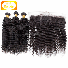 3 Bundles Human Virgin Deep wave Brazilian Hair With Deep wave Brazilian Hair Lace Frontal Closure DHL Free Shipping