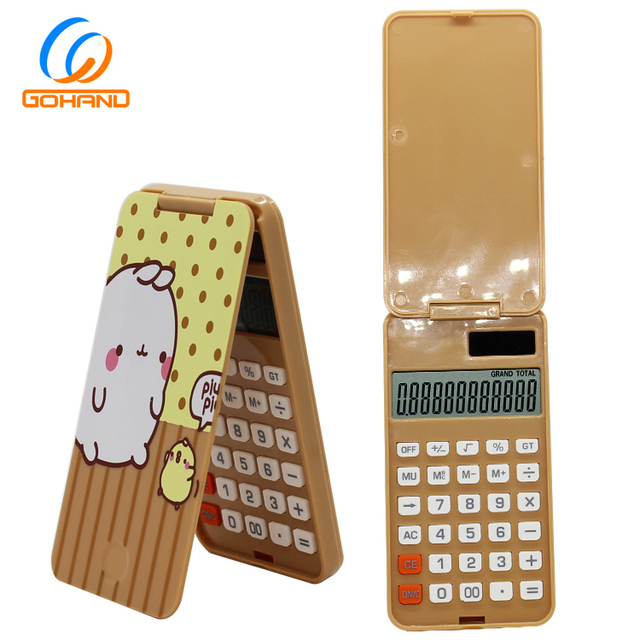 Foldable Cartoon Fancy 12-Digit Pocket Solar Calculator