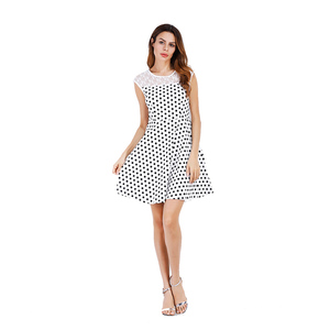 2fb2e6d3049 Casual White and Black Polka Dot sleeveless Dress for women