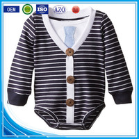 Black and write stripe organic cotton winner wear long sleeve wholesale happy newborn baby boy clothing with button