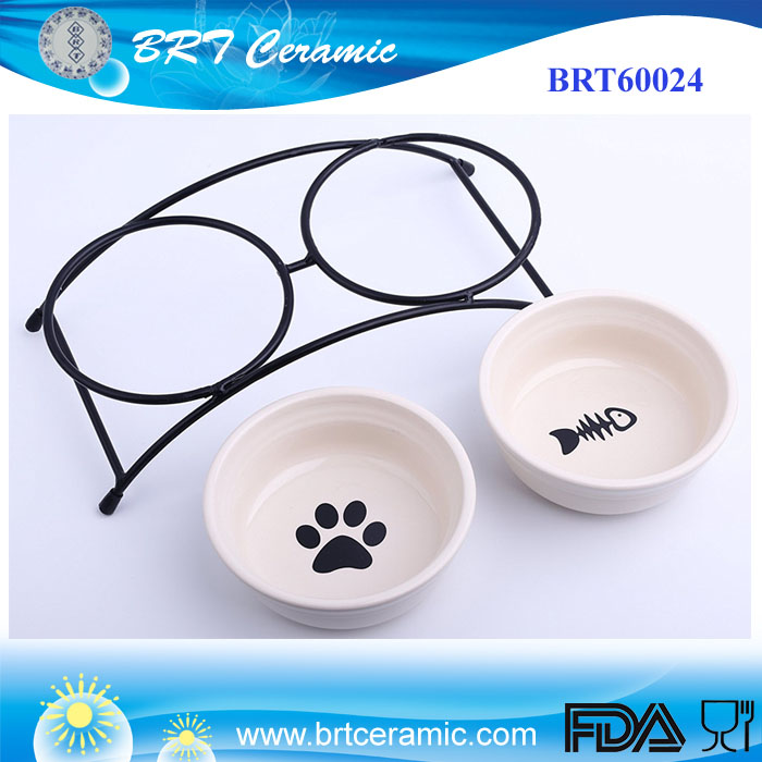 Cheapest cat pet feeder double ceramic bowls with elevated stand