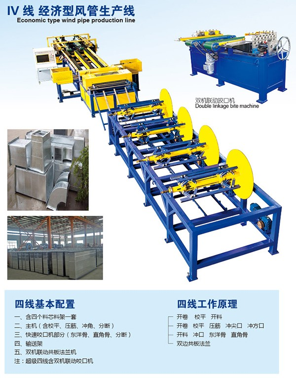 Auto spiral tube forming machine with tdc flange machine auto duct line 4