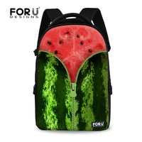 FOR U DESIGN Fruit with Zipper Stylish Kids Backpack School Bag New Models with Custom Pattern