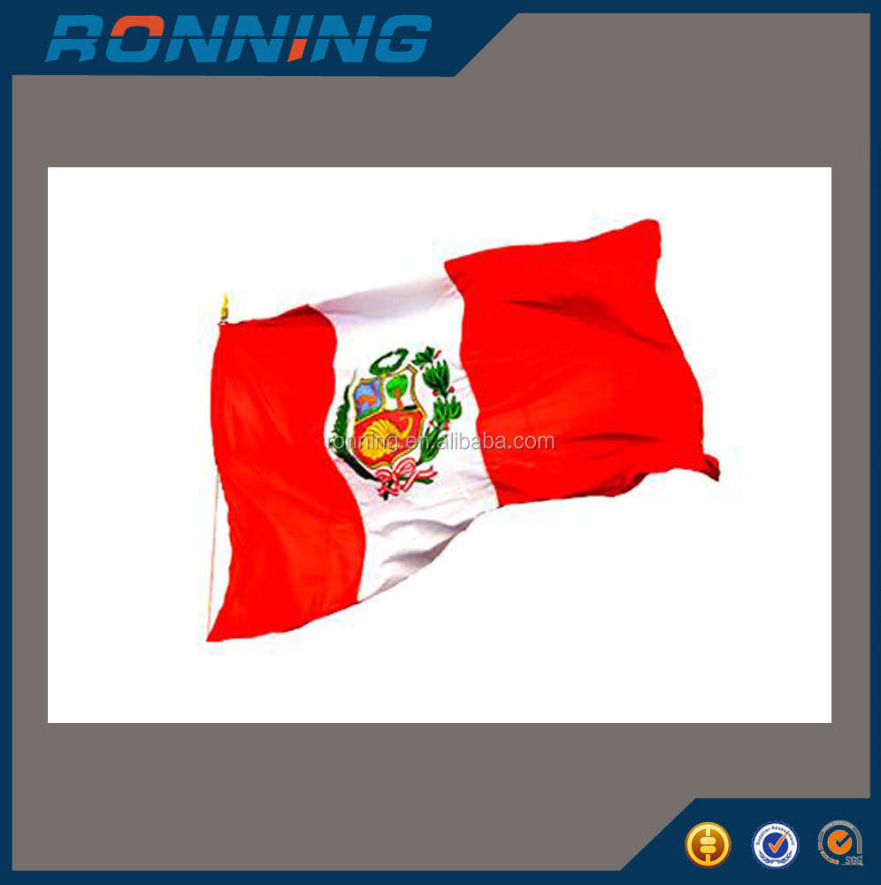 Wholesales cheap polyester 3x5ft Peru national flag