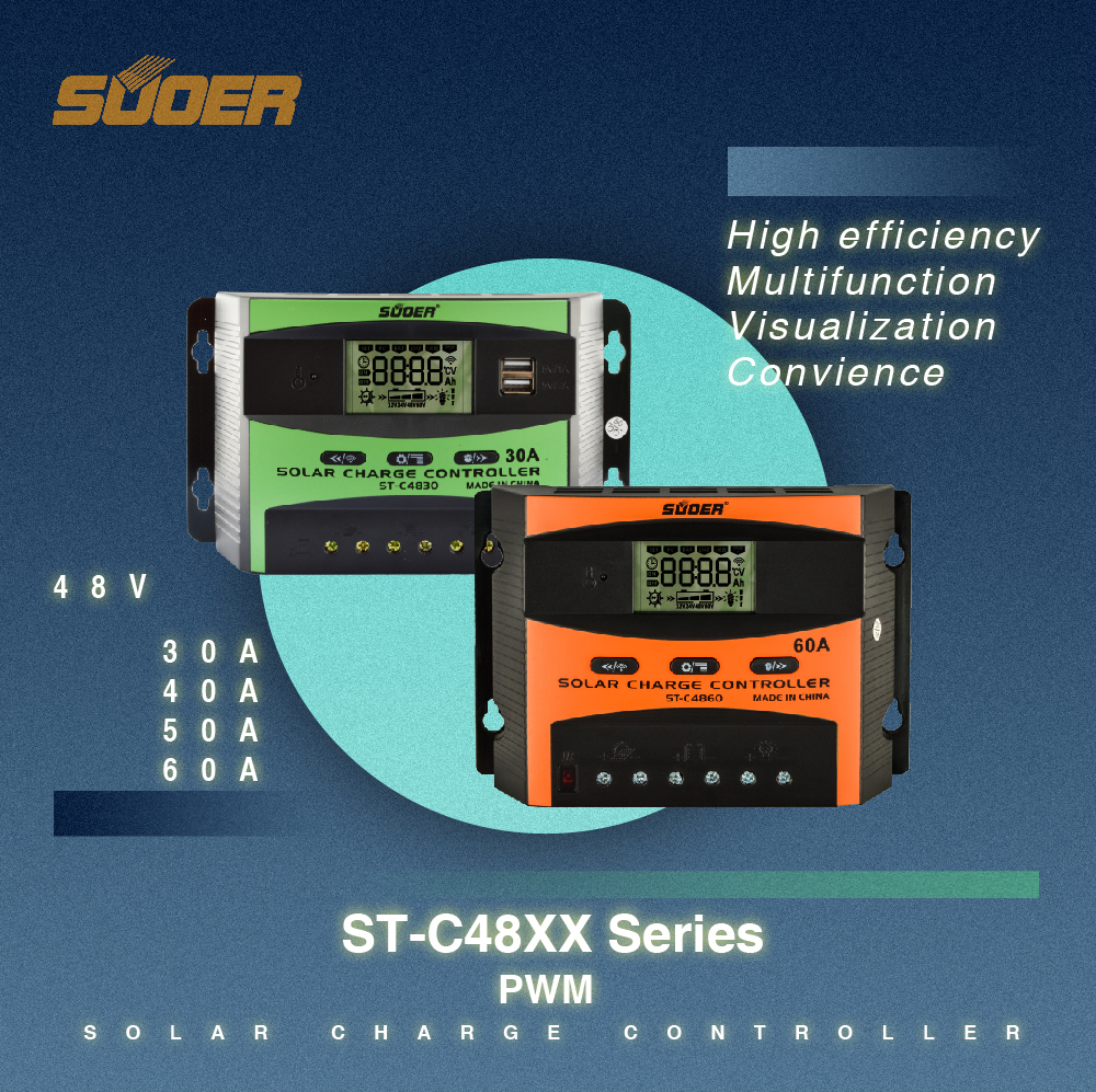 Suoer 60a 48v PWM solar system regulator battery charge controller