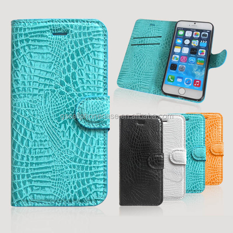 Leather Case for Samsung S6, OEM Snake Skin Wallet ID Holder Flip Cover for Samsung Galaxy S6