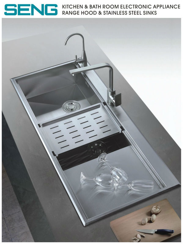 kitchen 2 bowl stainless steel sink with drainer