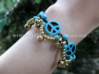 Bracelet Handmade Turquoise Peaceful Beads And Brass Beads Thailand Fair Trade