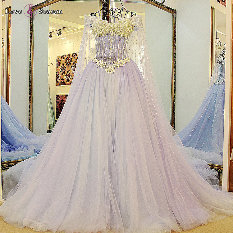 Ls55800 Light Purple Pearls Sheer Arab Bridal Gown Wedding Dress ...