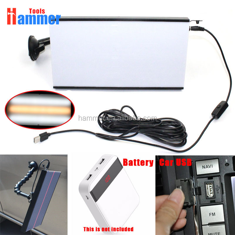 USB PDR Tools LED Light Paintless Dent Repair Hail Removal 3 Strips Car Body Lamp