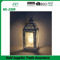 High quality hot sale white metal outdoor lantern with plastic LED bulb inside for camping