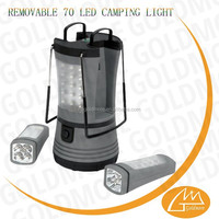 GOLDMORE3 Multiply function 70 led portable plastic Flashlight Lantern, 70 LED camping Lights. 2 Removable Flashlights