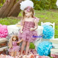"Girls Dusty Pink Rosettes Tutu Blossom Party Dress Matching 18"" American Girl Doll Outfit"