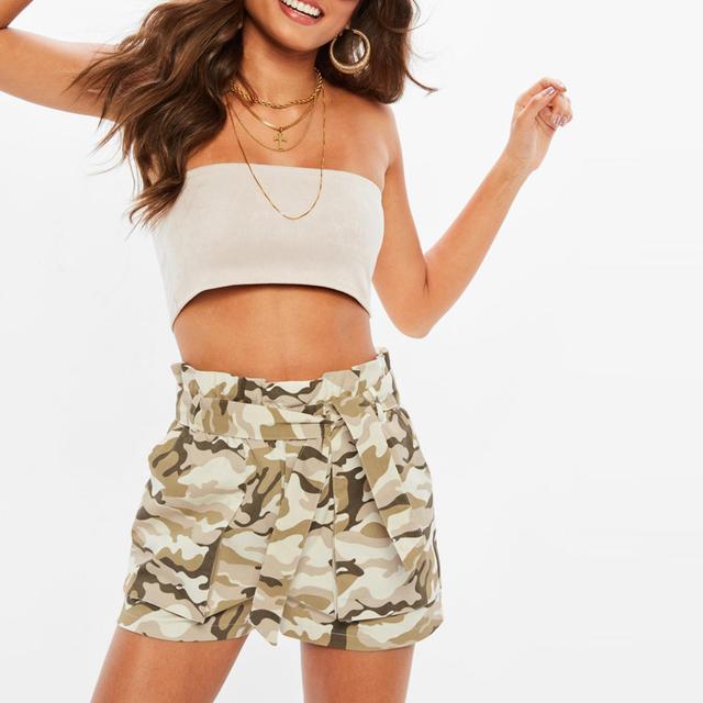 Women summer fashion camouflage cargo shorts