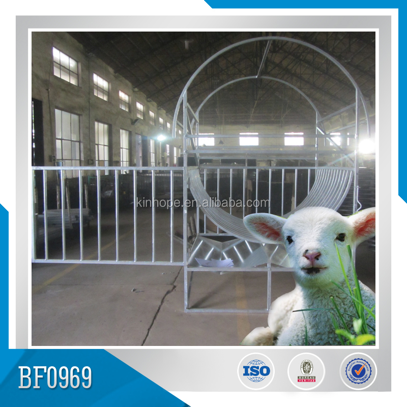 Galvanized steel sheep hay feeder