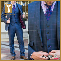 Top Selling Blue Checked Men's Coat Pant Designs Wedding Suit
